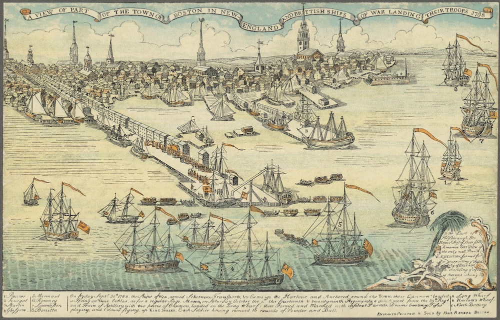 This engraving by Paul Revere documents British warships arriving in Boston Harbor in1768 with four regiments to squelch colonial opposition to British rule. (Paul Revere / Boston Public LIbrary)