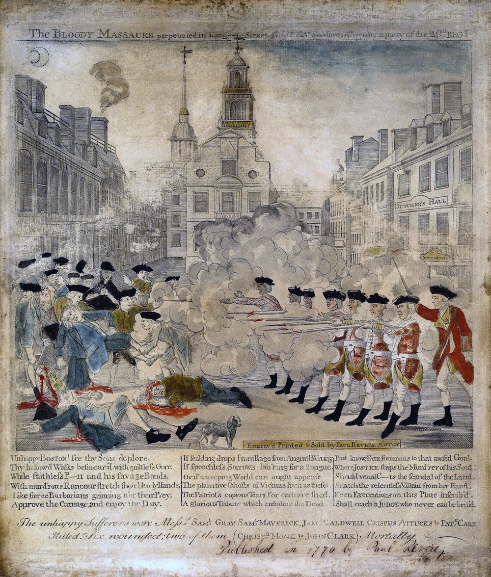 This engraving of the Boston Massacre—which leaves out certain factual details and adds others—was circulated by members of the Sons of Liberty to fuel colonial opposition to the British. (Library of Congress)