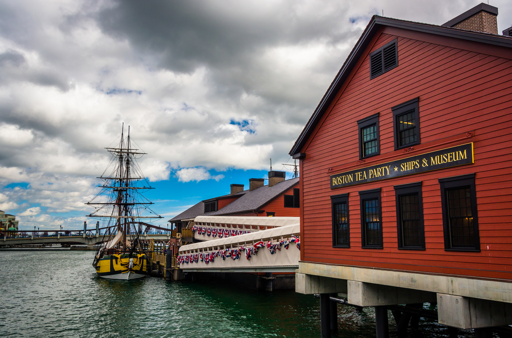 At the Boston Tea Party Museum, there are replicas of two of the tea ships, the Eleanor and the Badger. The Eleanor is pictured here. (Jon Bilous / Shutterstock)