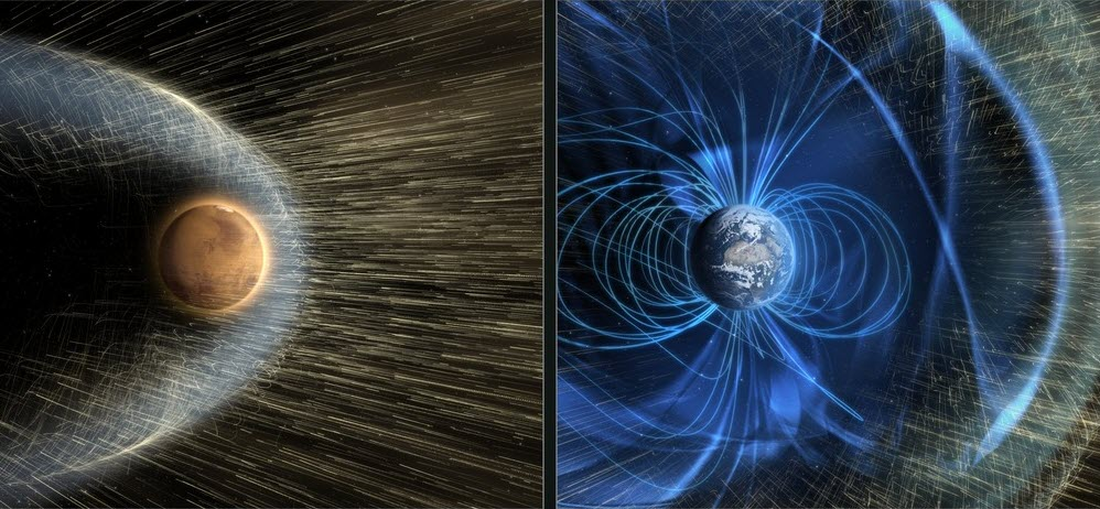 mars and earth solar winds