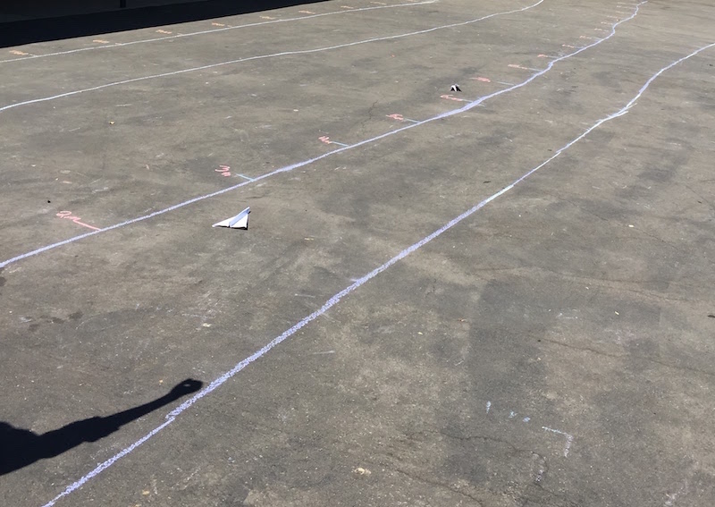 We tested our paper airplanes on landing strips outside.  Photos c/o Mari Venturino