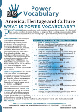 This free Vocabulary Packet for Kids Discover America: Heritage and Culture is a systematic and individualized approach to vocabulary development and enables teachers to assist students in improving their reading comprehension skills.