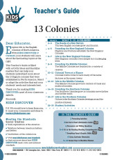 This 12-page Teacher Guide on 13 Colonies is filled with activity ideas and blackline masters that can help your students understand more about the 13 English colonies that were established in North America. Select or adapt the activities that suit your students' needs and interests best.