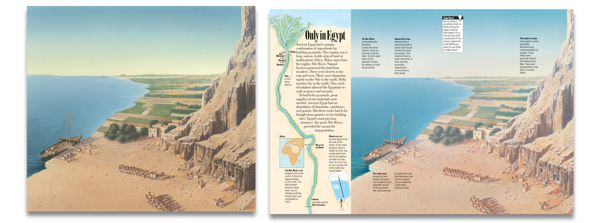 Rob Wood's illustration from Kids Discover Pyramids, before and after editorial design.