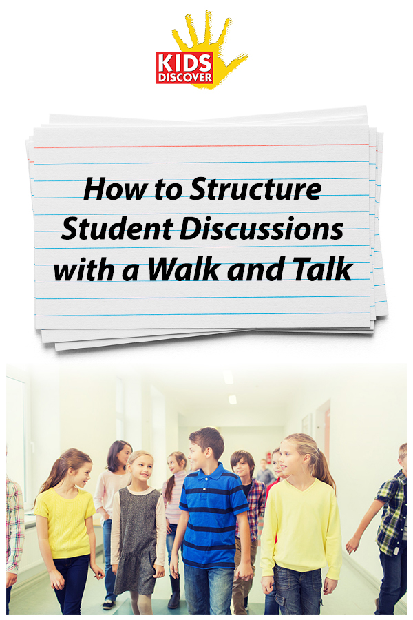 A walk and talk is a simple way to structure student discussions. This is a great technique to help kids review a topic before an assessment or presentation. In this example, Mari's class is studying Natural Disasters. Have students read our units on Extreme Weather, Tornadoes, Volcanoes or Earthquakes before your Walk and Talk if you'd like to use Mari's provided questions! | Kids Discover