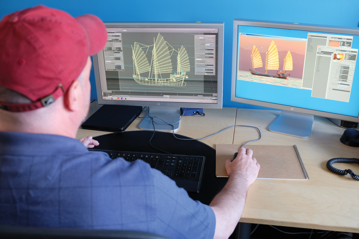 Ed Gabel puts the final touches on a custom 3D model for our Online Unit on Ancient China.