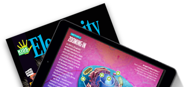 Issue of Kids Discover magazine and tablet with Kids Discover App