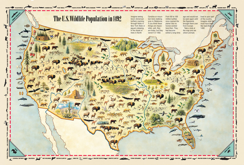 America Kids Discover - Us wildlife population map 1492