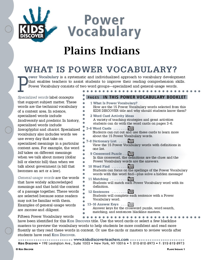 Plains Indians - Kids Discover math worksheets, education, multiplication, free worksheets, printable worksheets, and worksheets for teachers Plains Indians Worksheets 1100 x 850