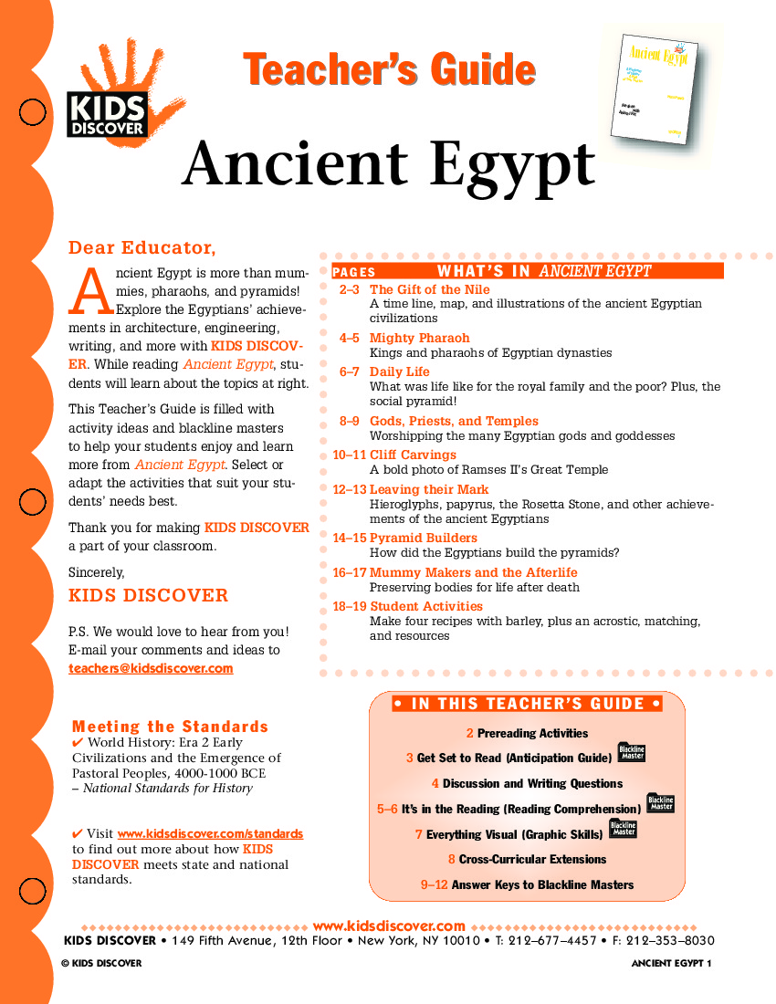 Ancient Egypt Kids Discover - 8 fun activities for kids in rome