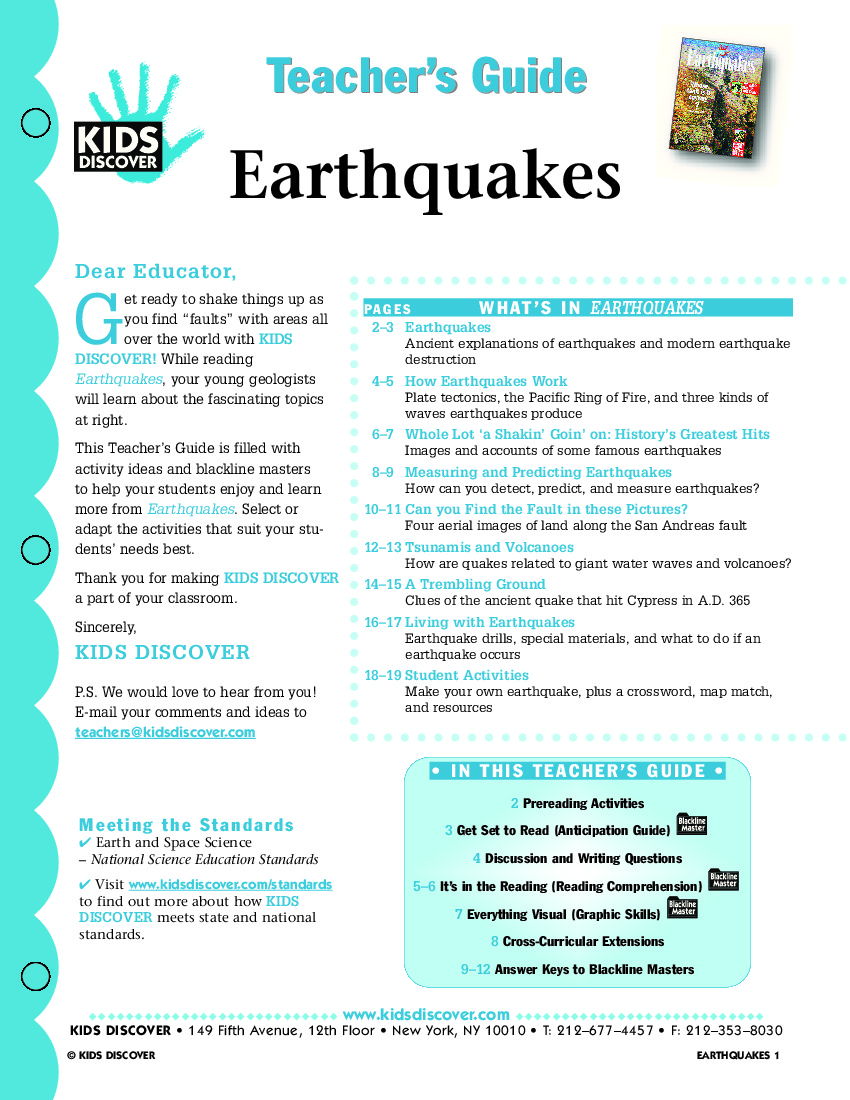 worksheet Earthquakes Worksheet earth science archives kids discover teachers guide