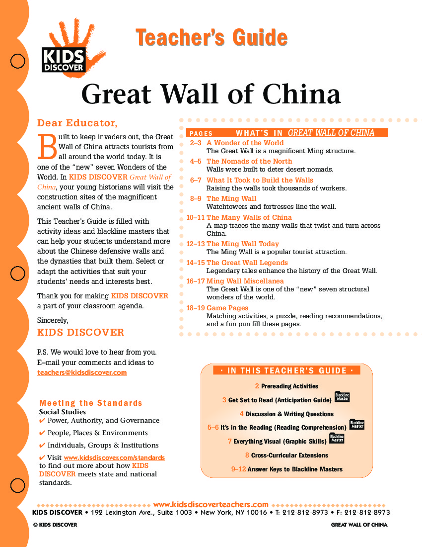 Great wall of china kids discover teachers guide great wall of china buycottarizona