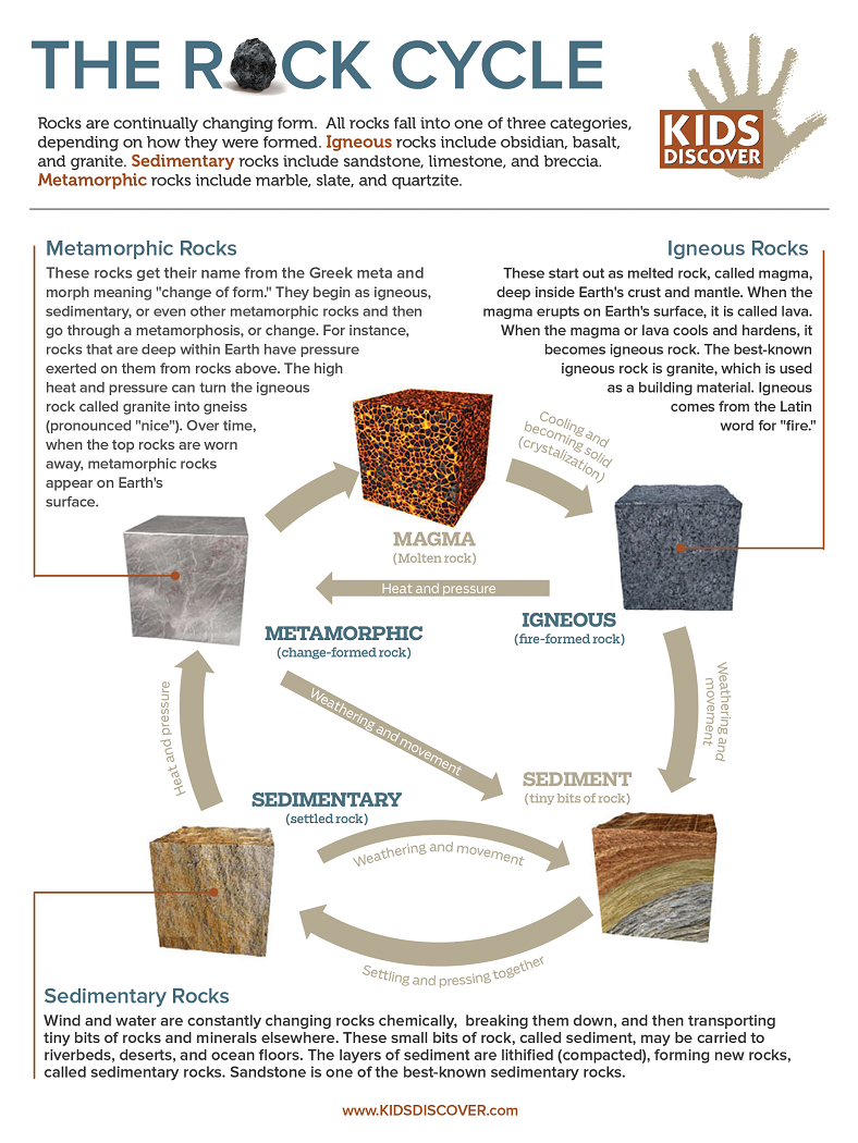 worksheet The Rock Cycle Worksheet little pieces of rocks across the curriculum kids discover infographic rock cycle