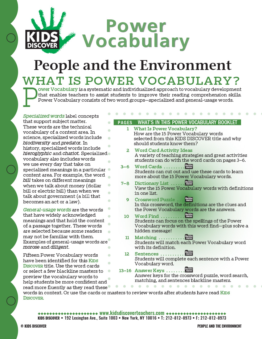 This Free Vocabulary Packet For Kids Discover KD2: People And The  Environment Is A Systematic
