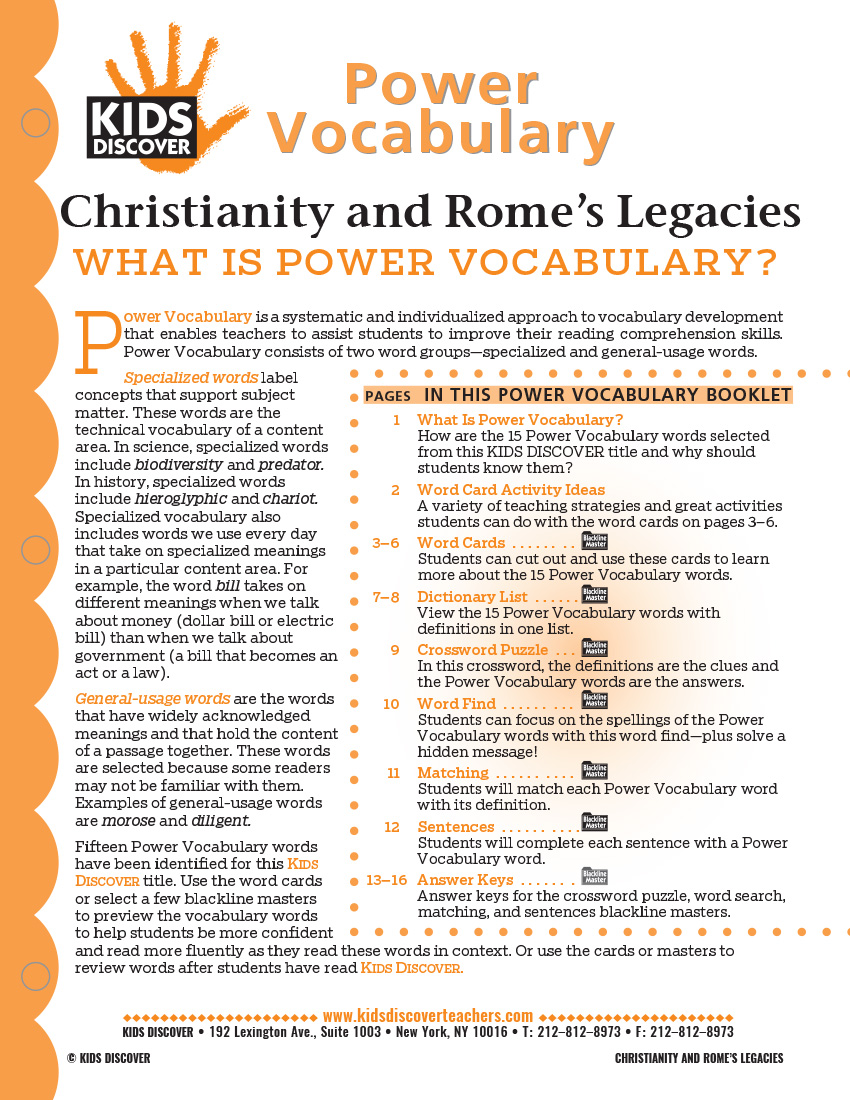 This free Vocabulary Packet for Kids Discover Christianity and the Legacies of Rome is a systematic and individualized approach to vocabulary development and enables teachers to assist students in improving their reading comprehension skills.