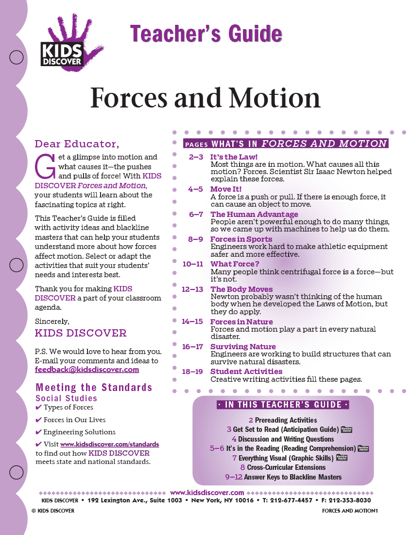Teacher's Guide for Kids Discover Force and Motion
